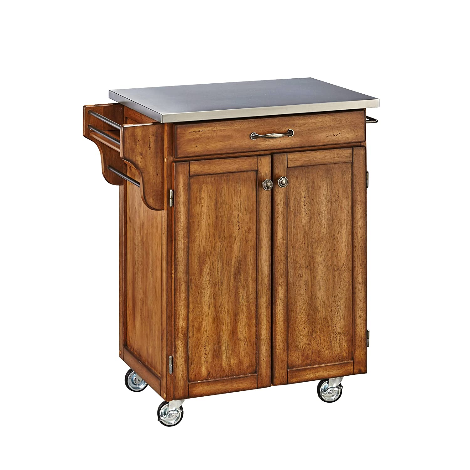 Create-a-cart Warm Oak Kitchen Cart with Stainless Steel Top by Home Styles