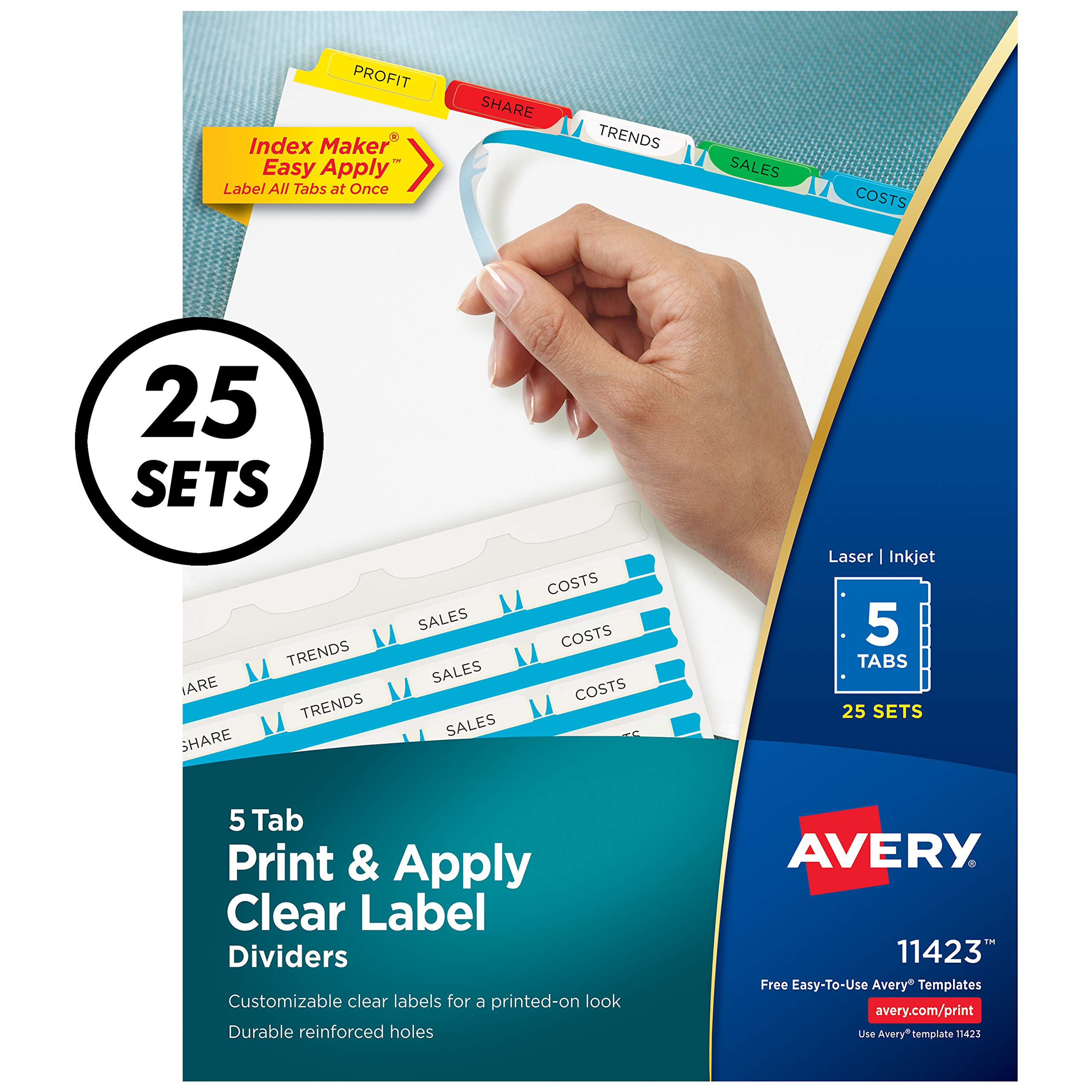 Avery 5-Tab Binder Dividers, Easy Print & Apply Clear Label Strip, Index Maker, Multicolor Tabs, 25 Sets (11423) by AVERY
