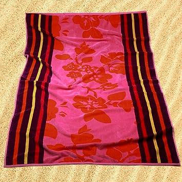 Burrito Blanco Toalla de Playa/Toalla de Piscina 173 Grande Algodón 100% Tacto de Terciopelo de 95x170 cm con Estampado de Flores y Rayas, Rosa: Amazon.es: ...
