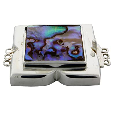 Amazoncom Sterling Silver Abalone Shell 3 Rows Jewelry Box with