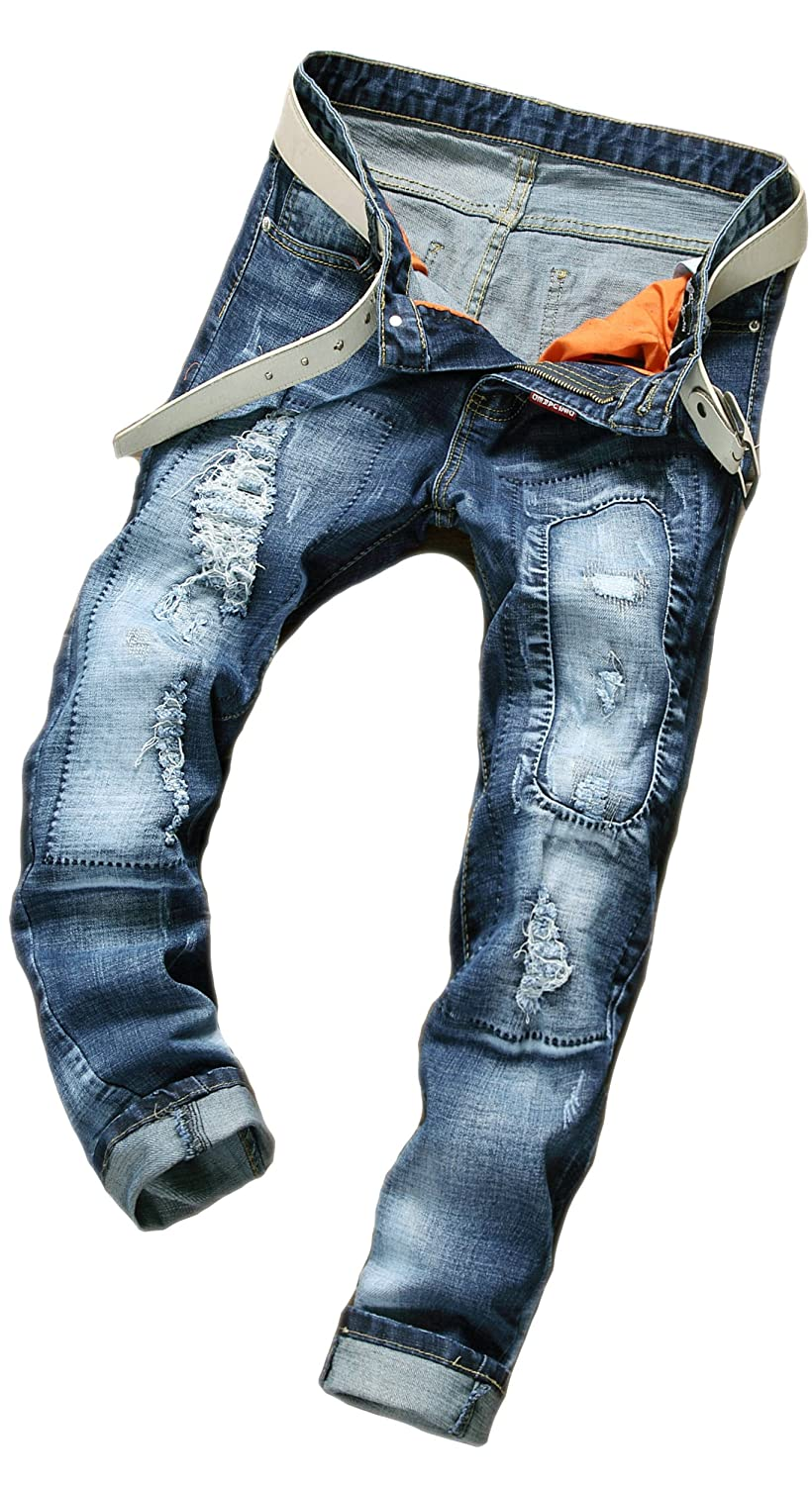 BiePa Fashion Mens Jeans Casual Jeans Hip hop Denim Pants Trousers