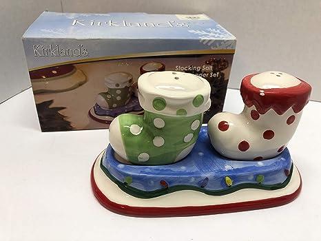 Amazon Com Kirkland S Christmas Stocking Salt Pepper Porcelain Shaker Set Kitchen Dining