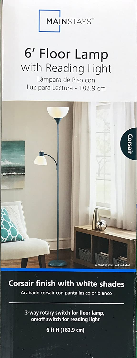 Mainstays Corsair Floor Lamp With Reading Light 72 3 Way Switch