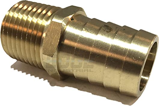 Water//Oil Gas//WOG EDGE INDUSTRIAL 3//8 Hose ID to 3//4 Male NPT MNPT Straight Brass Fitting Fuel//AIR