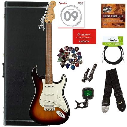 e3d93dac02 Fender Player Stratocaster, Pau Ferro - 3-Color Sunburst Bundle with Hard  Case,