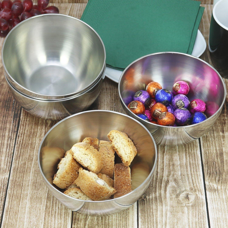 com-four/® 4x cuencos de metal que sirven para salsas 04 piezas - grandes bocadillos y entrantes o postres