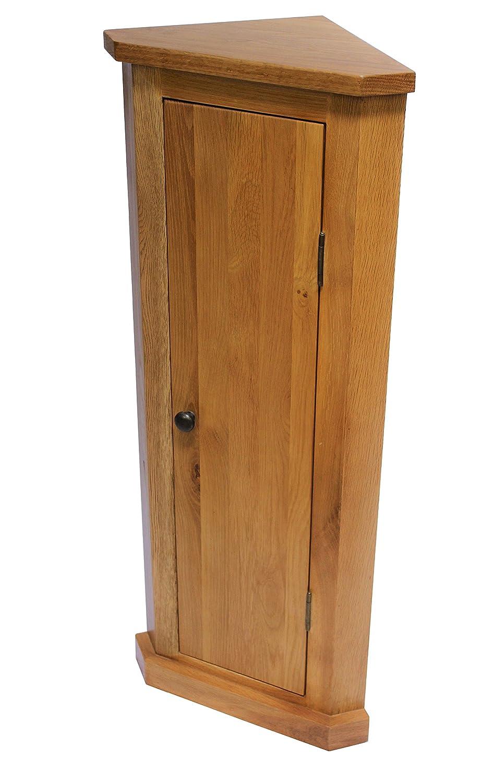 attic-home-furnishings Oak Corner Unit Cabinet Bathroom Storage Hallway Plant Lamp Stand