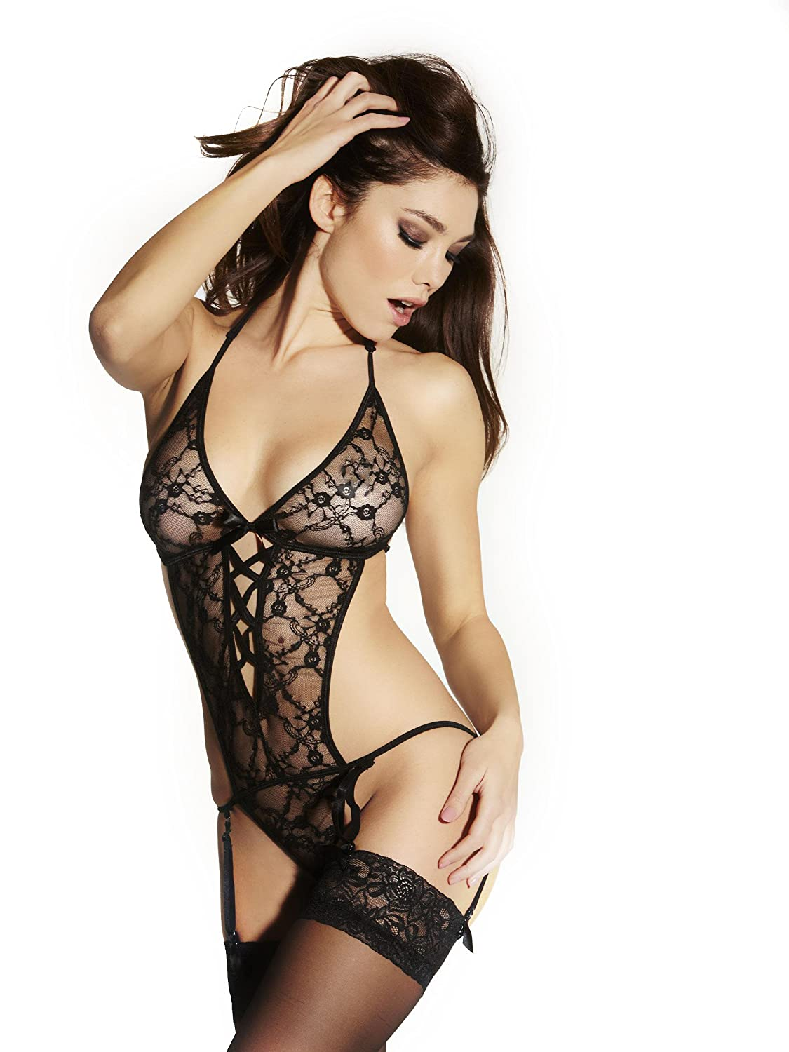 d60784ebb Ann Summers Womens Marnie Black Lace Crotchless Body Sexy Lingerie Underwear  S  Amazon.co.uk  Health   Personal Care