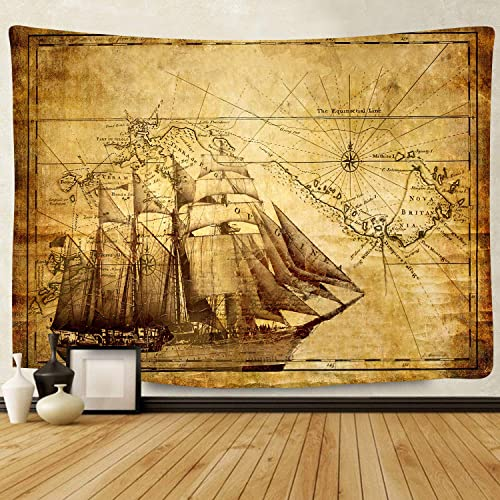 F-FUN SOUL Pirate Treasure Map Sailing Ship Drawing Tapestry, Large 80x60inches Soft Cotton, Old Ancient Pattern Wall Hanging Tapestries for Living Room Bedroom Decor DSFS1038