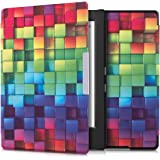 kwmobile Elegant synthetic leather case for the Kobo Aura H2O Edition 1 Design Rainbow cubes in multicolor green blue