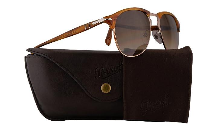 88a40aa4c8 Amazon.com  Persol Sunglasses PO8649S Striped Brown w Brown Gradient ...