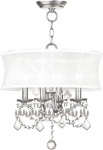 Livex Lighting 6304-91 Newcastle Brushed Nickel Convertible Hanging Lantern Ceiling Mount