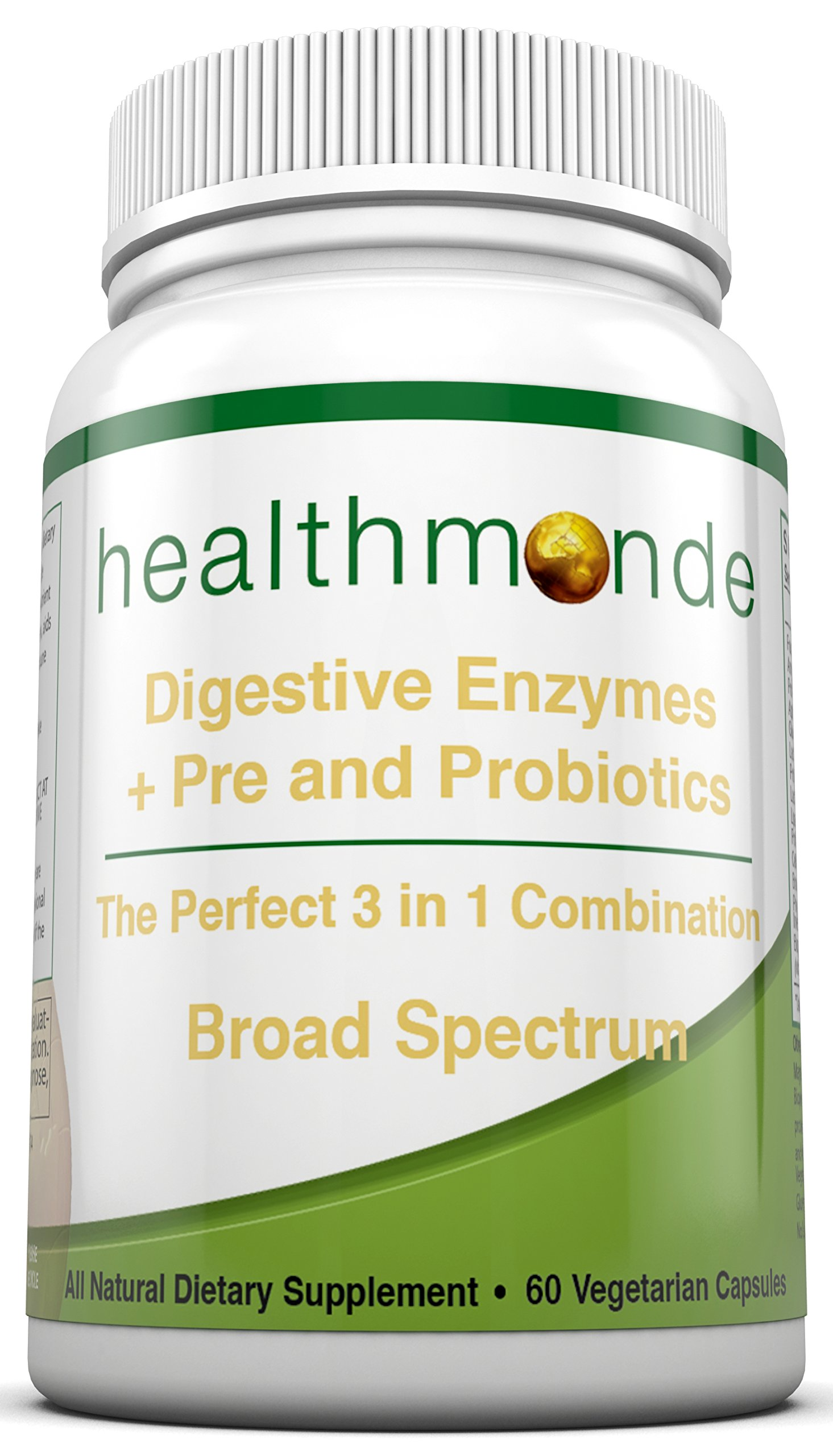 Digestive Enzymes Probiotic and Prebiotic Complex - With Amylase, Bromelain and Lactase - Natural Vegetarian Capsules - Improves Digestion and Absorption - Relieves Gas and Bloating - Vegan Friendly
