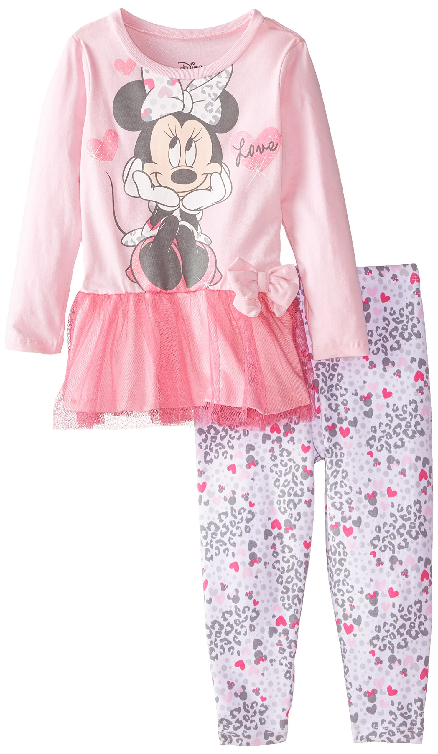 Disney Little Girls' Toddler Minnie Legging Set with Tulle Peplum Top Love, Pink, 2T