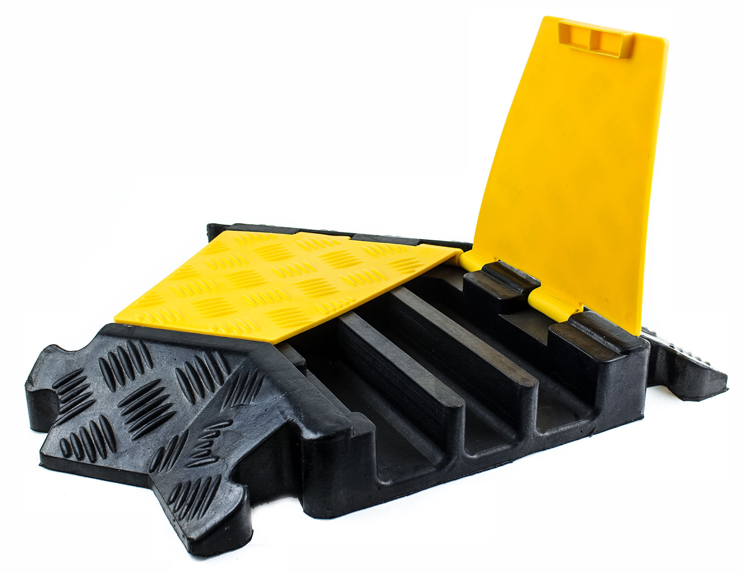 RK RK-CP-3CLT1 3 Channel Modular Rubber Cable Protector Ramp (Left Turn 45 Degree)