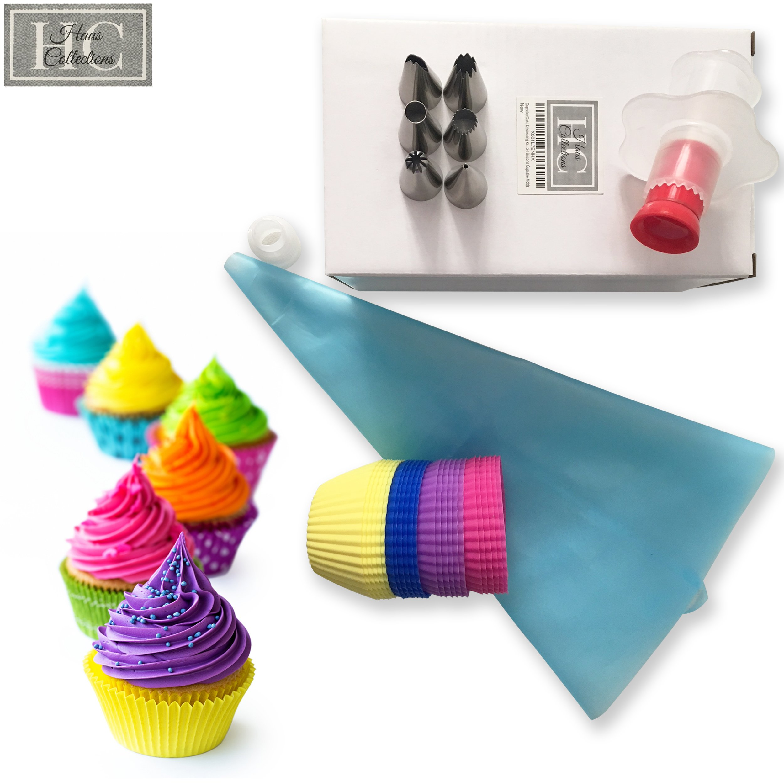 Cupcake Cake Decorating Kit Including 6 Interchangeable Stainless Steel Tips with Reusable Icing Pastry Bag and Coupler, Cupcake Corer and 24 Silicone Cupcake Molds