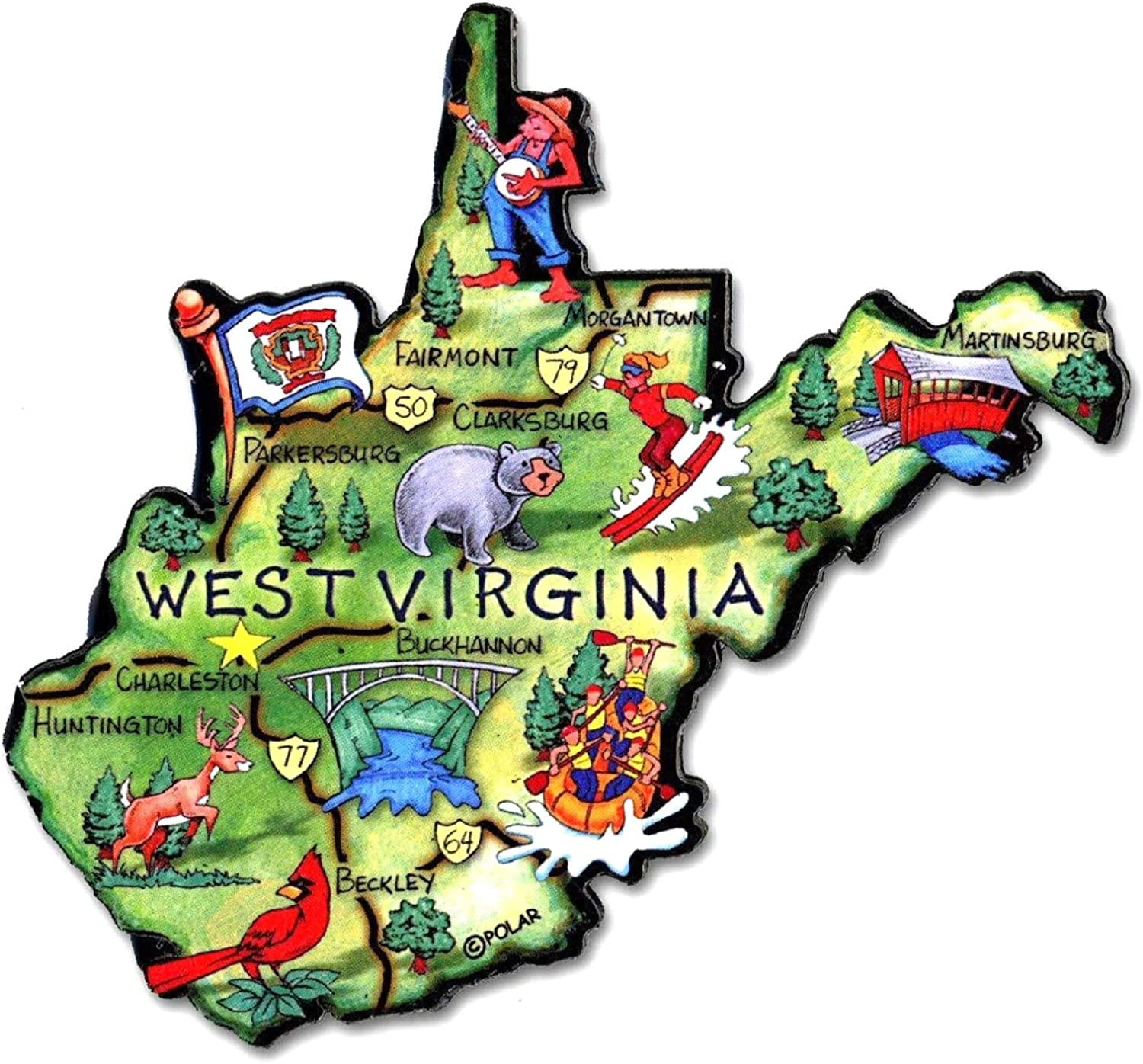 West Virginia the Mountain State Artwood Jumbo Fridge Magnet