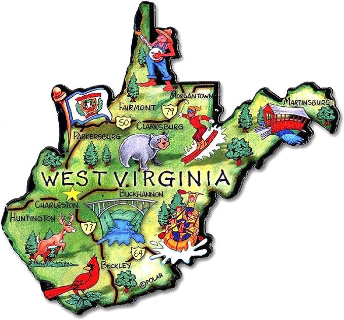 West Virginia the Mountain State Artwood Jumbo Fridge Magnet