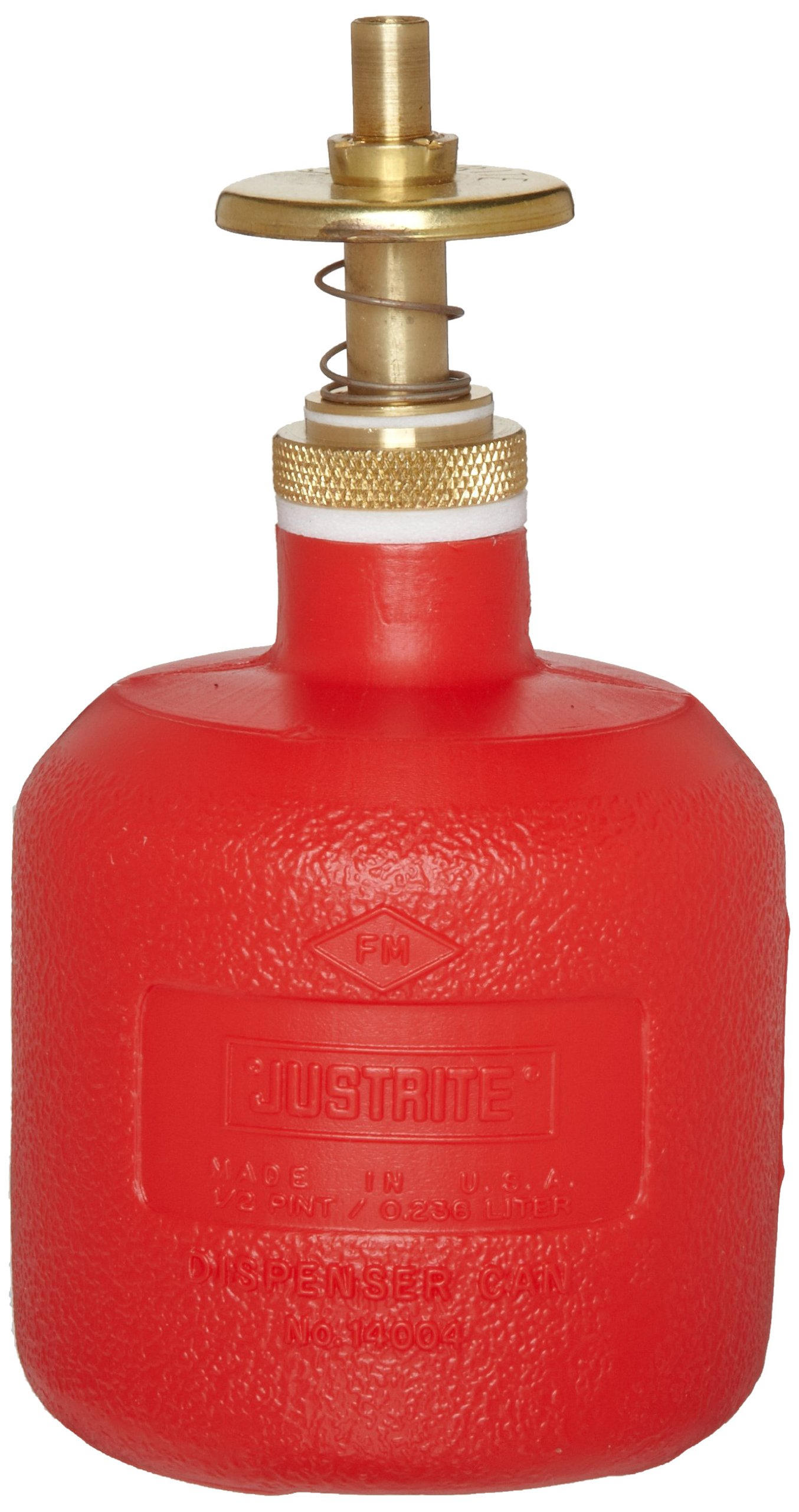 Justrite 14004 8 oz Capacity, 5 1/2'' H, 3 1/8'' O.D High-Density Polyethylene Red Dispenser Can