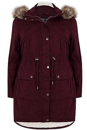 dc9bc2a5890 Yours Clothing Women's Plus Size Burgundy Cotton Parka With Faux Fur Trim  Hood