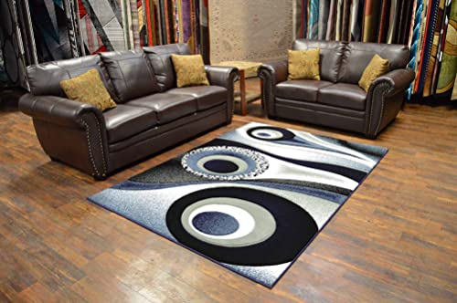 PlanetRugs Inc Premium 3D Effect Hand Carved Modern Abstract 5×7 Colorful Luxury Rug for Bedroom, Living Room, Dining Room Contemporary Carpet 1504 Grey Gray Navy Blue