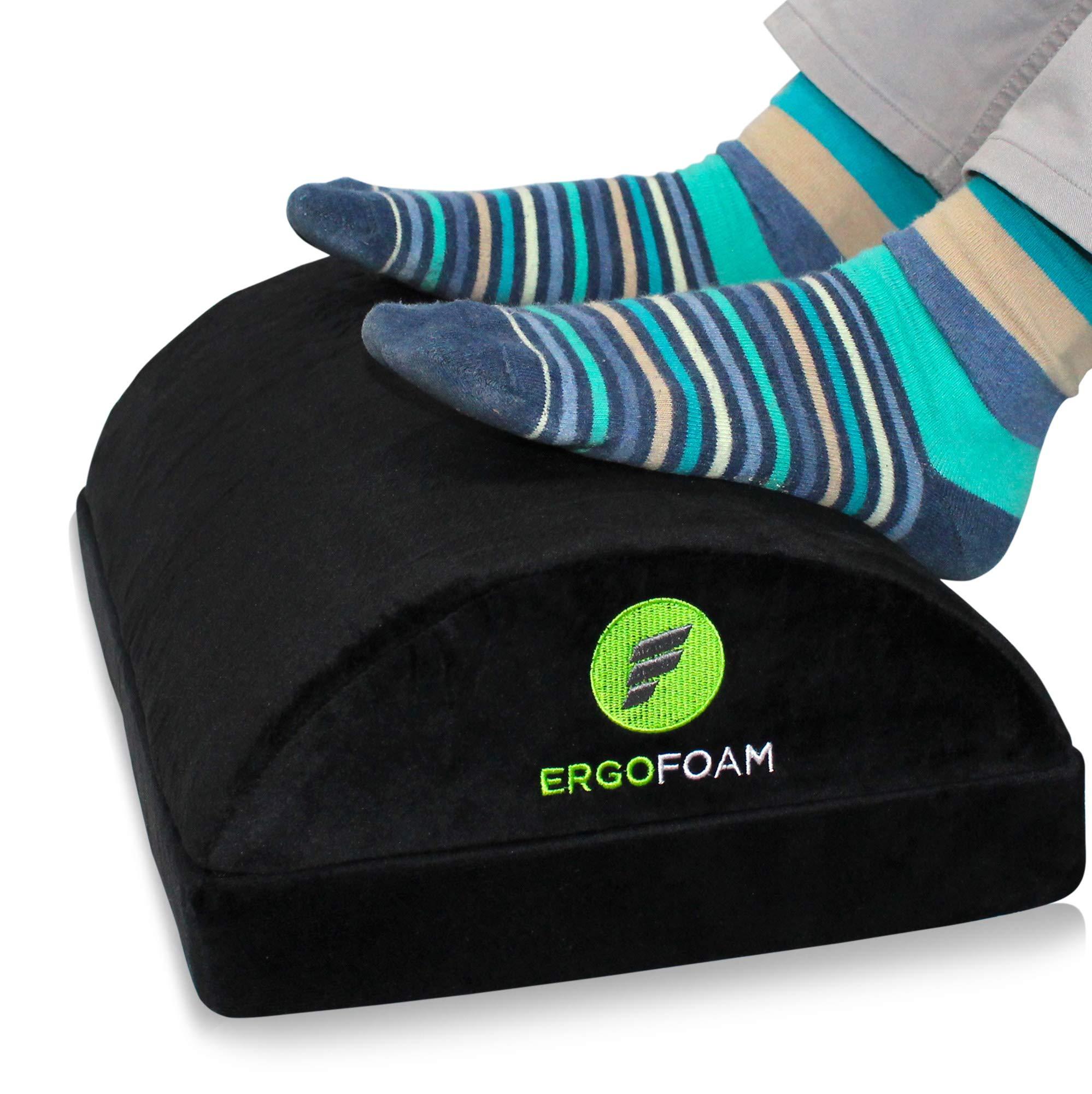 ErgoFoam Adjustable Foot Rest Under Desk for Added Height   Large Premium Velvet Soft Foam Footrest for Desk   Most Comfortable Desk Foot Rest in The World for Back, Lumbar, Knee Pain (Black) by ErgoFoam