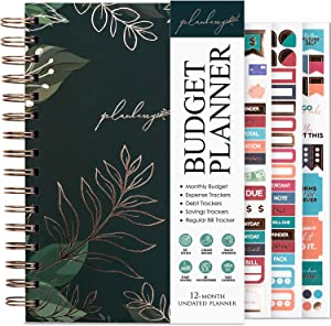 PLANBERRY Budget Planner – Undated Monthly Finance Organizer – Financial Planner for Money Budgeting with Expense & Bill Tracker - 6.3x8.5″ Hardcover (Green Pastures)