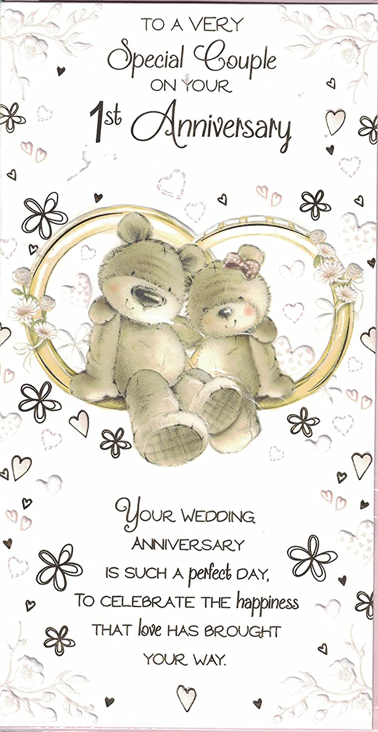 1st Wedding Anniversary Card ~ To A Very Special Couple On Your 1st Anniversary ~ Cute Bears & Wedding Rings prelude