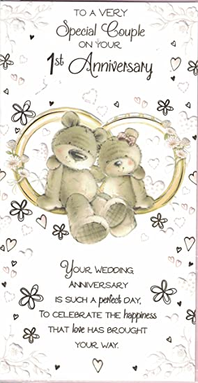 1st wedding anniversary card on your first anniversary 1st wedding anniversary card on your first anniversary congratulations bears on bench slim card m4hsunfo