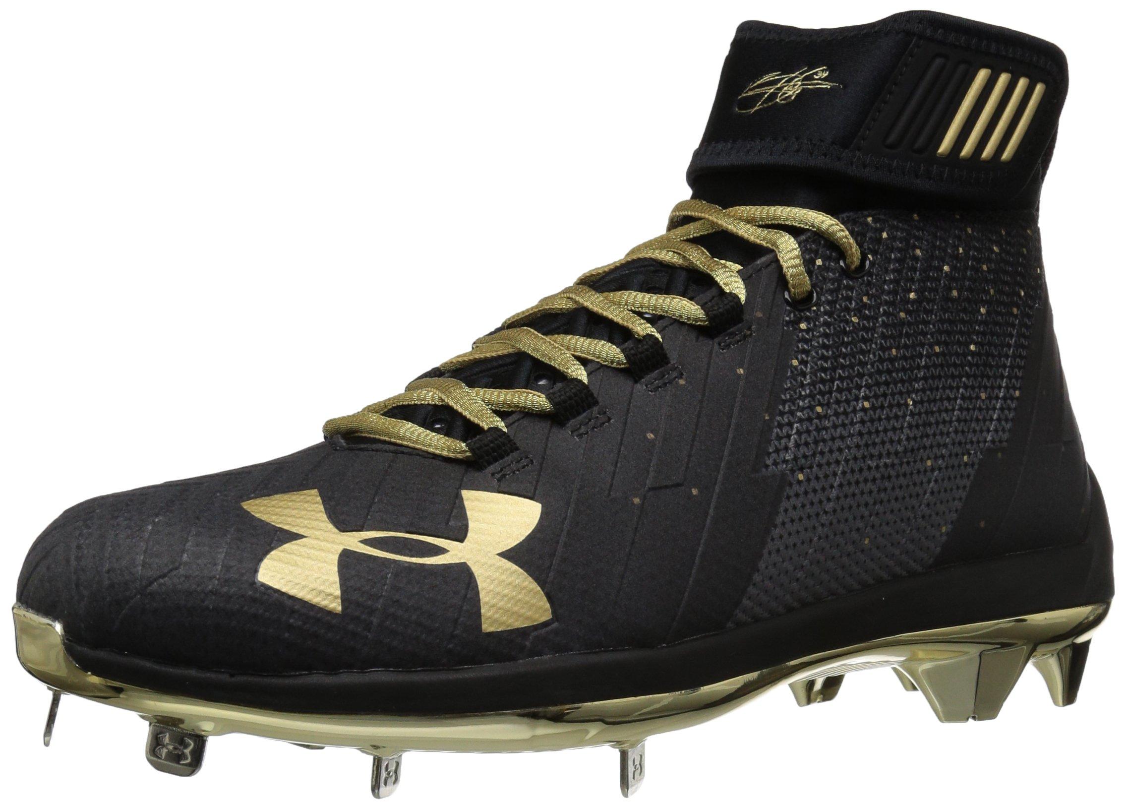Under Armour Men's Harper 2 Mid ST-Limited Edition Baseball Shoe, Black (001)/Metallic Gold, 7