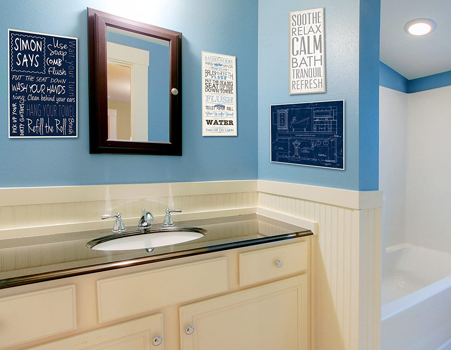Proudly Made in USA Stupell Home D/écor Bathroom Rules Blue And Black Print Bathroom Wall Plaque 7 x 0.5 x 17