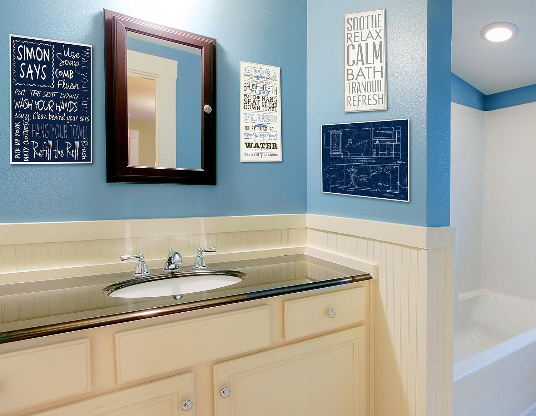Amazon.com: Stupell Home Décor Soothe Calm Relax Bath Bathroom Wall ...