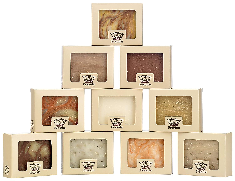 Fabulous Frannie Natural Soap Bar Gift Set Variety 10 Pack - Bay Rum, Cinnamon, Flowers, Honey Almond, Lavender, Lemongrass, Orange Vanilla, Patchouli, Peppermint, Tea Tree with pure essential oils