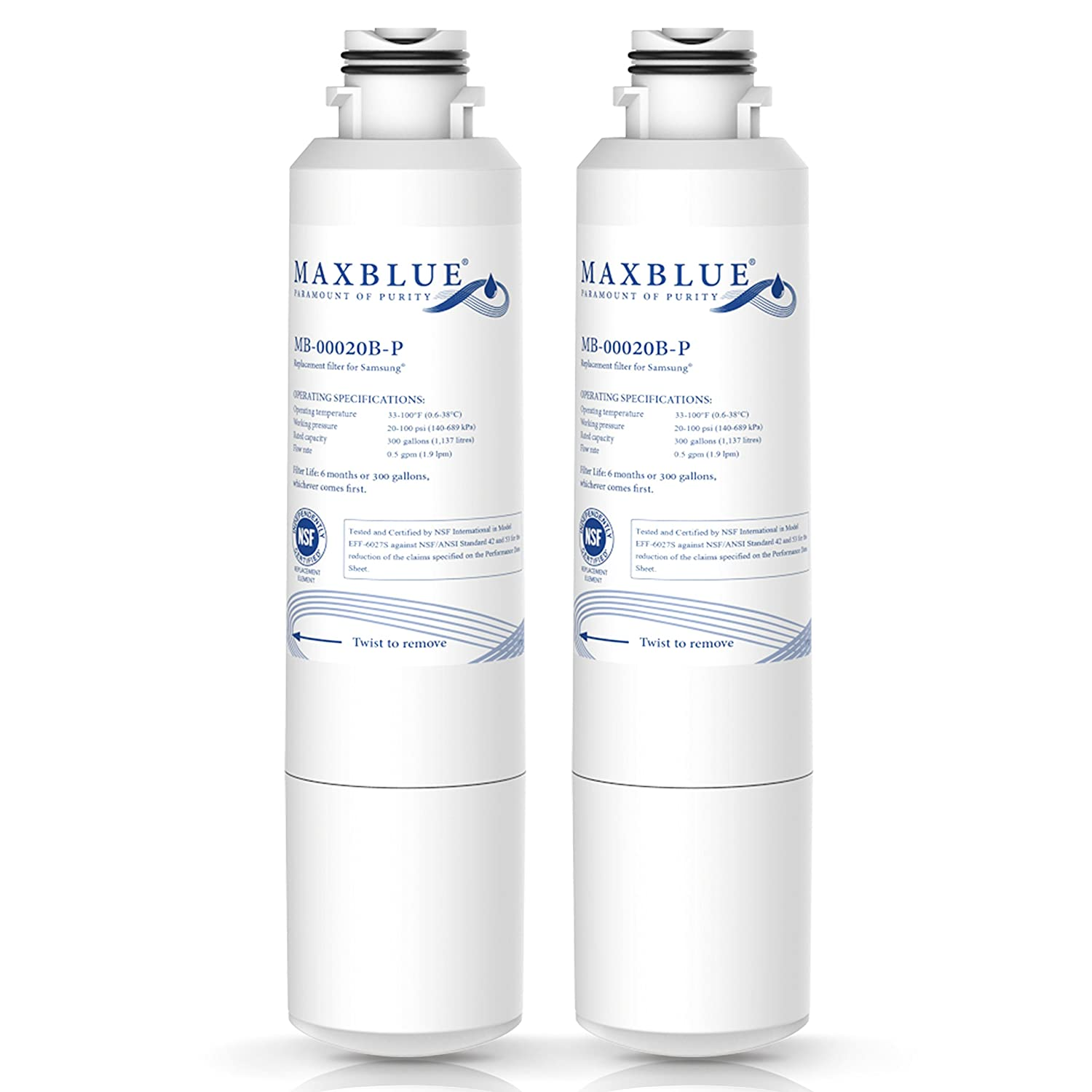 Maxblue NSF 53&42 Certified DA29-00020B Refrigerator Water Filter, Replacement for Samsung HAF-CIN/EXP, DA29-00020A/B, DA97-08006A, RF28HMEDBSR, RF4287HARS RF263TEAESG RH22H9010SR, Pack of 2