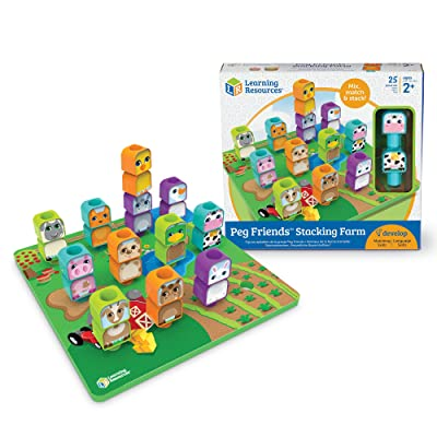 Learning Resources Peg Friends Stacking Farm Animals, Fine Motor Toy, 12 Animals, Ages 2+: Toys & Games
