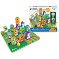 Learning Resources LER3376 Peg Friends Stacking Farm 11 L x 10 1/4 W x 2 1/4 H in,Multicolor