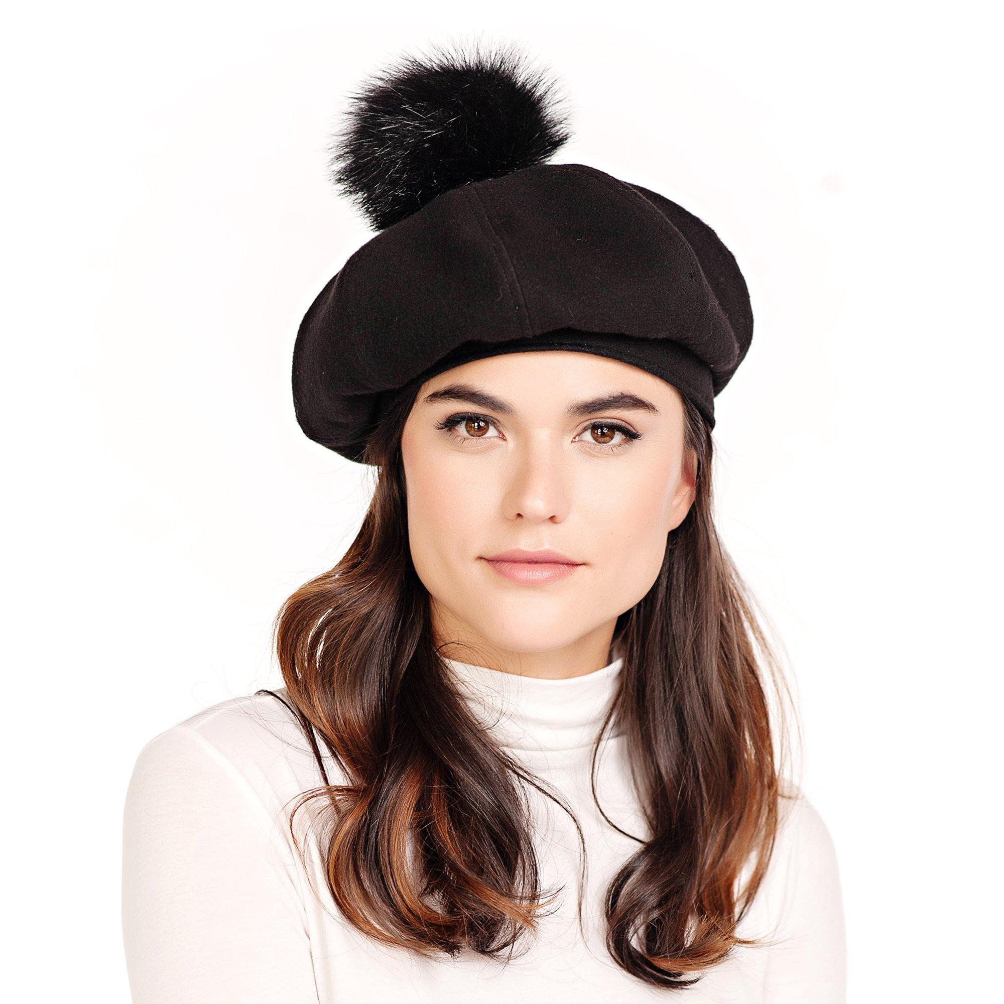 Donna Salyers' Fabulous-Furs Black Faux Fur Pom Beret