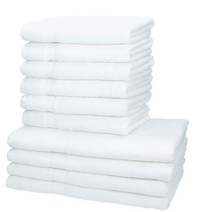 BETZ 10 Piezas Set Toallas de baño Palermo Color Blanco 100% Algodon 4 Toallas de