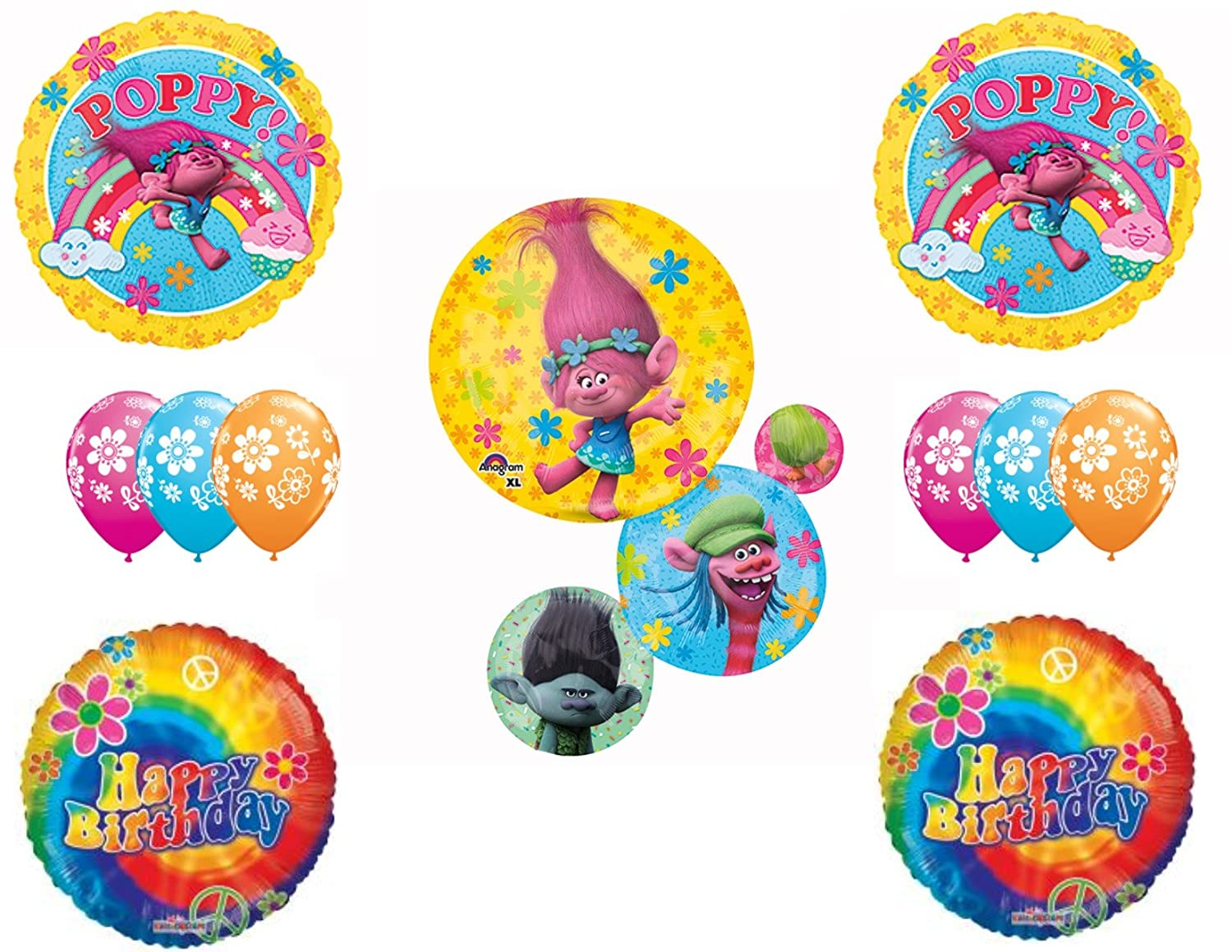 Amazoncom Trolls Movie Happy Birthday Party Balloons Decoration