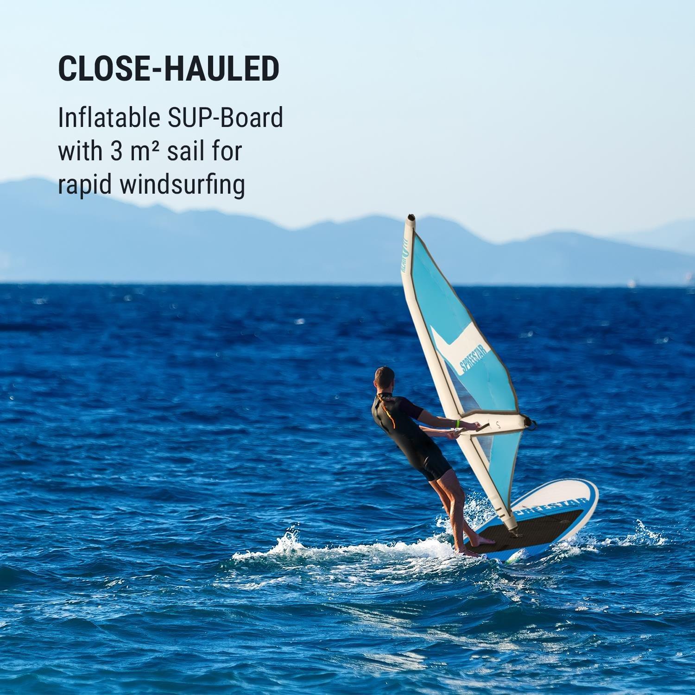 Klarfit Spreestar WS • Paddle Surf con o sin Vela • Tabla Sup Hinchable • Set Completo • 300x10x71 cm • Vela 3 m • Bomba de Aire manómetro • Transportable ...