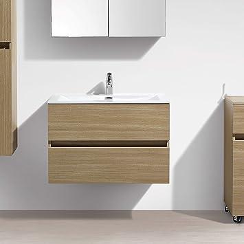 Mueble lavabo + lavabo 80cm MONTADO tinte Roble Claro SIENA ...