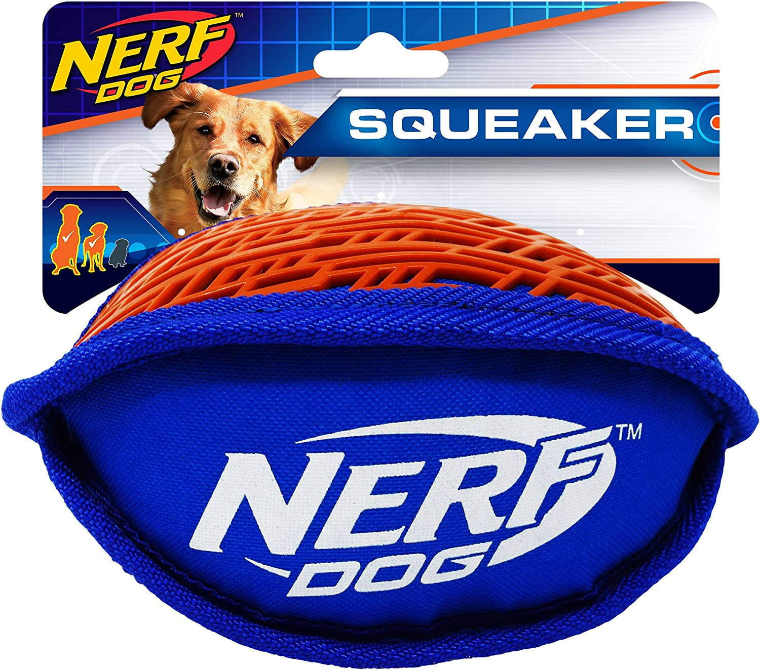 Nerf Dog Force Grip Football Dog Toy with Interactive Squeak, Lightweight, Durable and Water Resistant, 7 Inch Diameter for Medium/Large Breeds, Single Unit, Blue/Orange