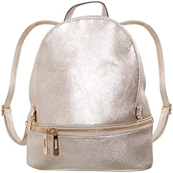 0084c8e1a658 Amazon.com | Humble Chic Vegan Leather Backpack Purse Small Fashion Travel  School Bag Bookbag, Champagne Gold, Metallic | Kids' Backpacks