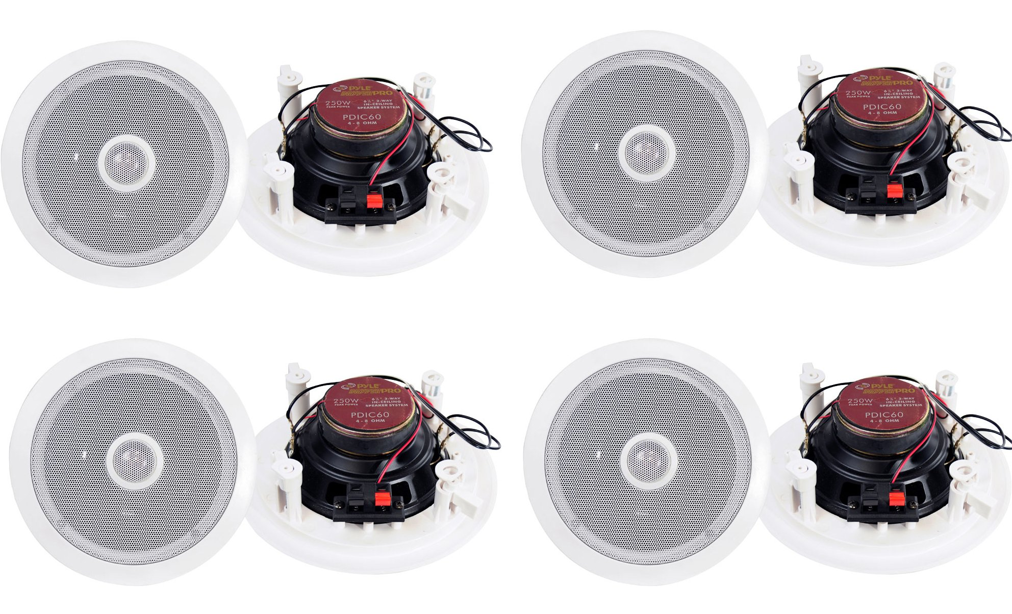 8) Pyle PDIC60 6.5'' 250W 2 Way Round In Wall/Ceiling Home Speakers System Audio