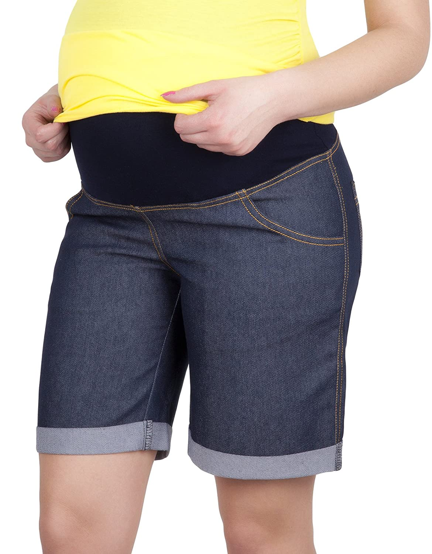 Mija – Maternity Shorts Bermudas pants cropped Capri Denim Jeans trousers 4006