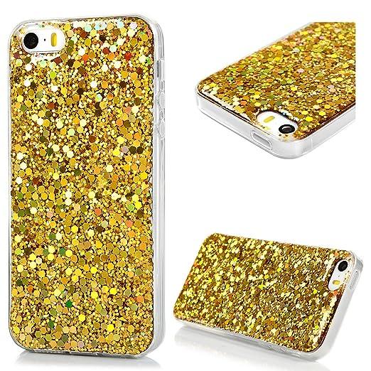 24 opinioni per Cover iPhone 5S Silicone, iPhone SE Custodia Morbido TPU Con Glitter Bling