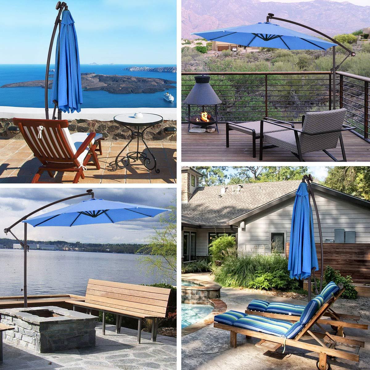 3m Outdoor Solar Patio Garden Led Lights Umbrella Fairy