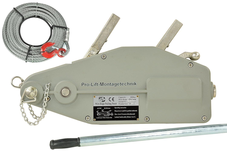Pro-Lift-Montagetechnik 800kg Seilwinde, Forstseilwinde, mit 20m Stahlseil, 01128
