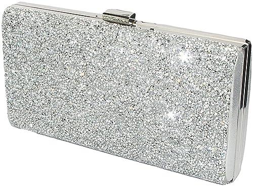 c1ecfe5fbab10 Covelin Women's Handbag Envelope Rhinestone Evening Clutch Bag Hot Silver