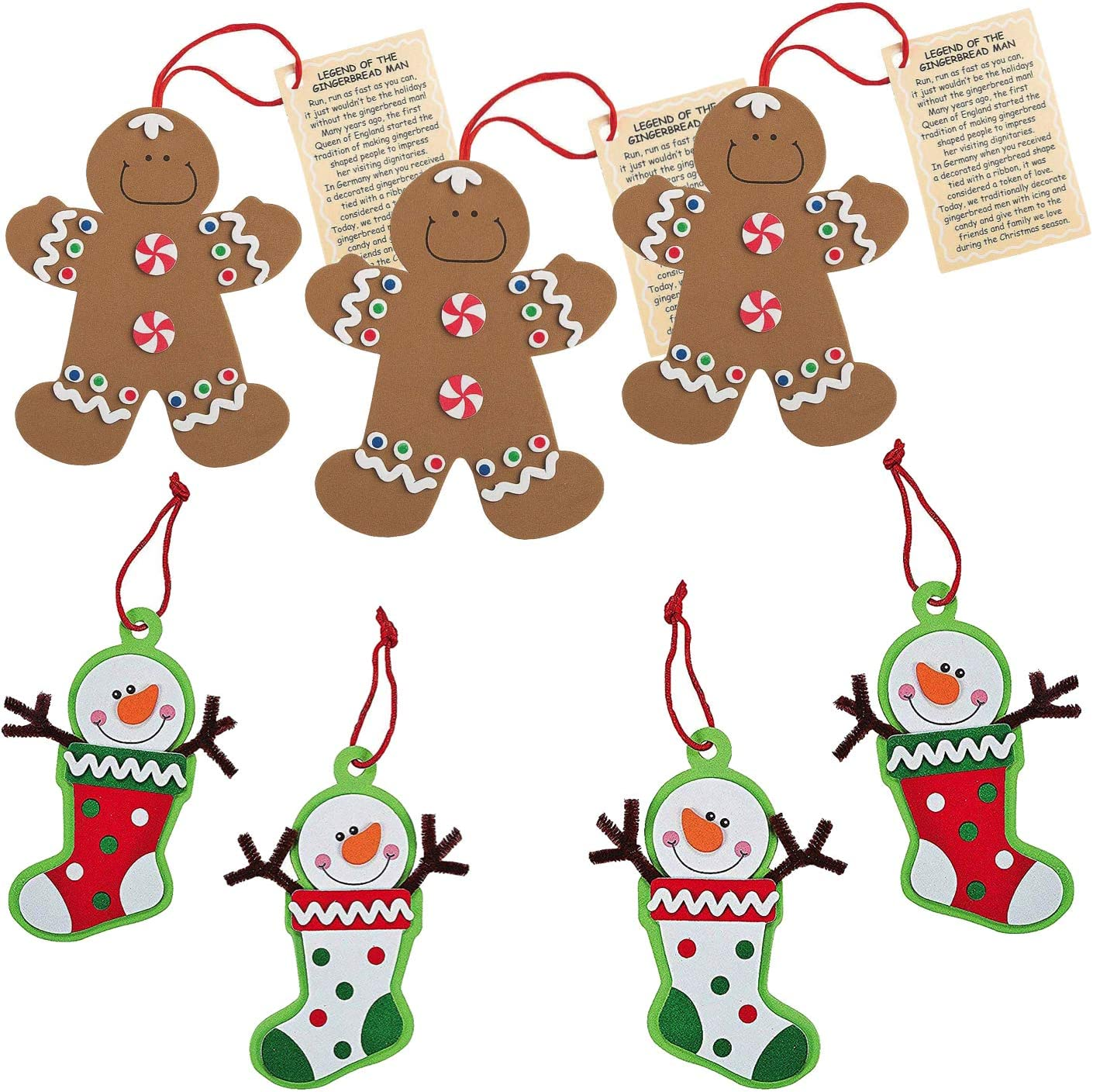 Gingerbread Man and Snowman Christmas Ornament Kits Set of 24 Christmas Crafts for Kids
